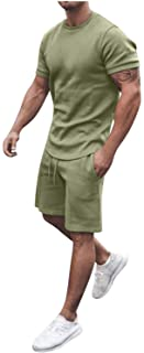 Men 2 Piece Outfits Summer Casual Crew Neck Muscle Short Sleeve Tee Shirts and Classic Fit Sport Shorts Set Tracksuit