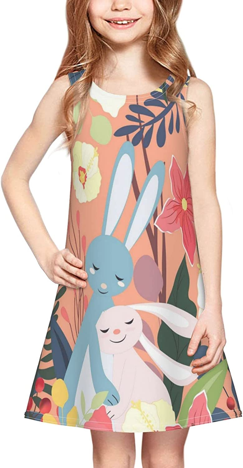 Couple Rabbit Girl Sleeveless Dress,Cute Bunny in Colorful Forest Flower Leaf Frame Casual Crew Neck Girls Sundress 2-6 Years