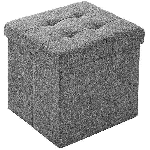 TecTake Tabouret Pliant Cube Pouf dé Pliable Coffre siège de Rangement boîte 38x38x38cm - diverses Couleurs au Choix - (Gris Clair | No. 402237)