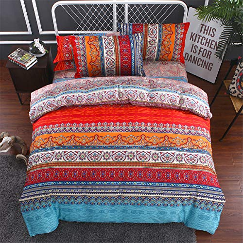 Double Bohemian Floral Bedding Set for Adult Adults,Moroccan Bohemian Quilt Cover with 2 Pillowcases,Mandala Stripe Duvet Cover 200 x 200 cm