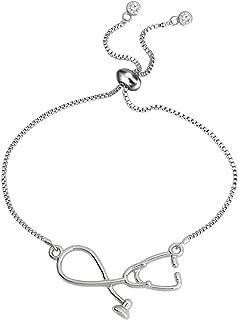 Stethoscope Adjustable Chain Bracelet Medical Jewelry Gift for Doctor Nurse Medical Student