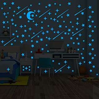 Glow In The Dark Stars Sticker 216 Pcs Luminou Sticker Decal Ceiling Stickers Wall Mural Wallpaper Art Decor Star Wars Wall Decal Sticker for Kids Baby Bedding Room Birthday Gift (Blue Stars and Moon)