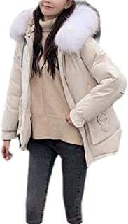 Macondoo Womens Thicken Outwear Hoodie Parkas Coat Zipper Cotton-Padded Down Jacket