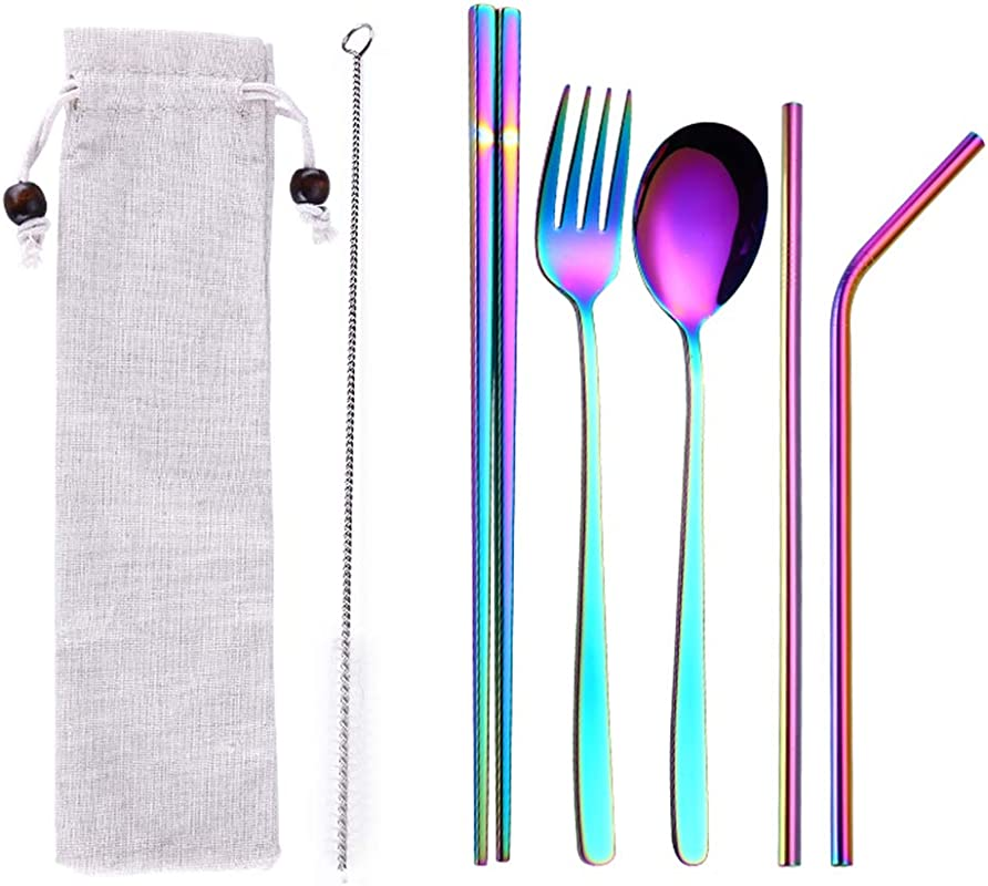 DAGEDA Stainless Steel Flatware Set Reusable Cutlery Set Travel Utensils Set With Straws For Camping Office Or School Lunch Set Of 6 1 Portable Bag Eco Friendly Utensils Rainbow