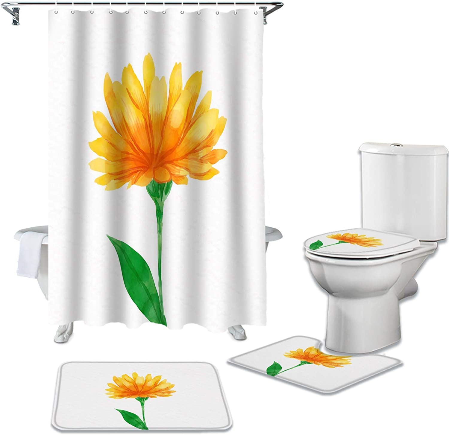 Brawvy 4 Pcs Shower Curtains Sets for Max 89% OFF 12 Gre with Bathroom Oklahoma City Mall Hooks