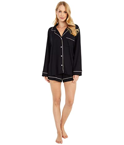 Eberjey Gisele Long Sleeve Short and PJ Set (Black/Sorbet Pink) Women