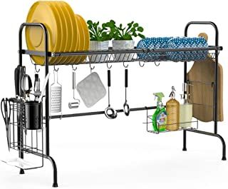Over the Sink Dish Drying Rack, iSPECLE Large Premium 201 Stainless Steel Dish Rack with Utensil Holder Hooks for Kitchen Counter Non-slip Black