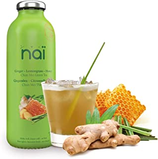 NAI Ice Tea   Pack of 12   Ginger - Lemongrass - Honey - Green Tea   Enjoy Hot or Cold   Made of Natural Ingredients   No Artificial Colors & Sweeteners   No Preservatives   16 oz   Made in USA