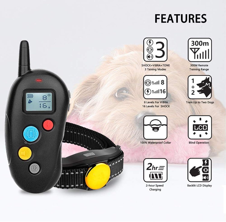 Dog Training Collar,Rechargeable Rainproof Lightweight bark Collar with Vibration, Electric Shock,Beep,Smart Detection Training Collar with LED Breathing Light & Screen