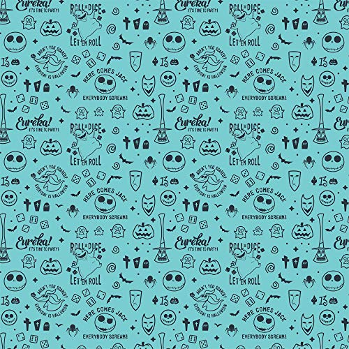 Disney Nightmare Before Christmas Master of Fright Creepy Cute Celebration Aqua Fabric by The Yard