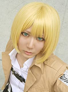 Anogol Hair Cap+Japanese Short Yellow Cosplay Wig for Women Synthetic Bob Wigs for Cosplay Costume