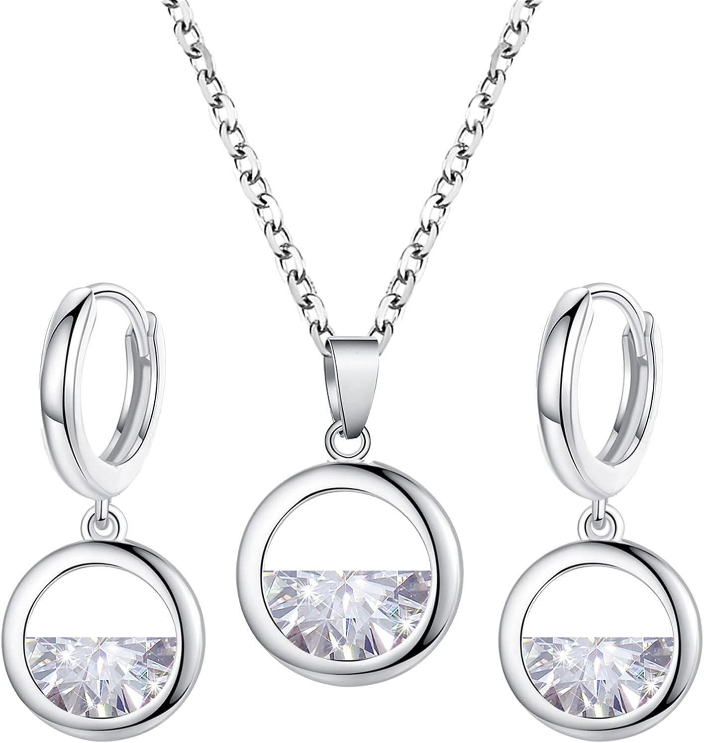 Necklace Ring Earring Set Women Elegant Earrings Charm Jewelry Pendant Set (EarringD+NecklaceD)