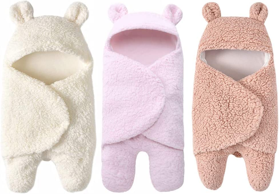Beher Newborn Sleeping Wrap Swaddle Baby Cotton Plush Boys Girls Cute Receiving Blanket Sleeping Bag Sleep Sack 0-12 Month Baby Shower Gifts