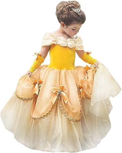 TYHTYM Deluxe Princess Costumes Little Girls Dress Kids Fancy Gown Cosplay Halloween Party
