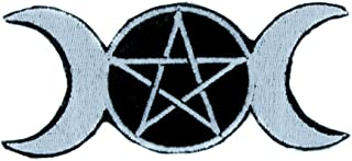 Triple Moon Goddess Wicca Patch Iron on Applique Wiccan Clothing Pagan Witchcraft