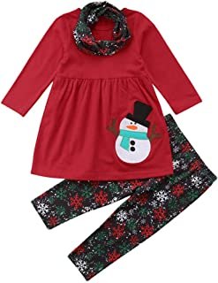 Xinantime Toddler Kids Baby Girls Long Sleeve Snowman Print Tops Pants Christmas Outfits 2pcs Set