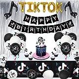 VSTON TIK Tok Decoraciones Fiesta Cumpleaños,TIK Tok Banner Mantel Cortina de Flecos Globo de Papel de Aluminio y Globos de látex Adornos para Tartas Suministros para Fiestas de cumpleaños