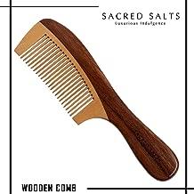 Sacred Salts Wooden Comb Handmade Maple Wood Broad Tooth Hair Detangler Detangling Comb