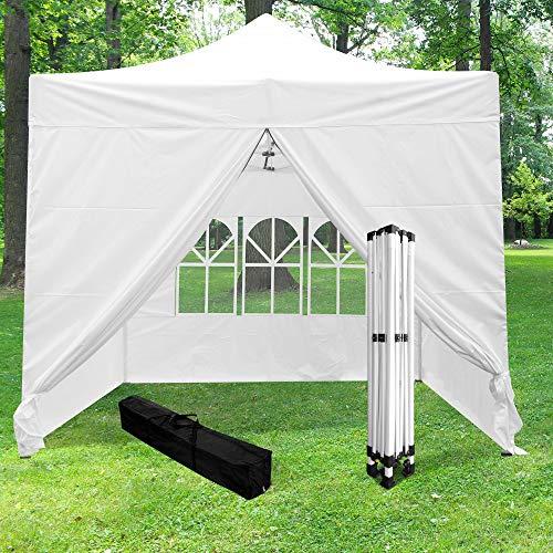 Skyland Garten-Pavillon faltbar 3 x 3 m 520D (320 g/m²) + 4 weiße Wände – Pavillon Barnum faltbar und mit 4 Wänden aus Leinwand – Pagozelt, faltbar, wasserdicht, ideal für Empfang im Freien