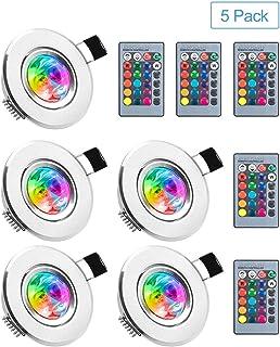 BLOOMWIN LED Spot Encastrable 5pcs RGB Multicolore Ampoules avec Télécommandes 220V 16 Couleurs Dimmable Lampe de Plafond ...