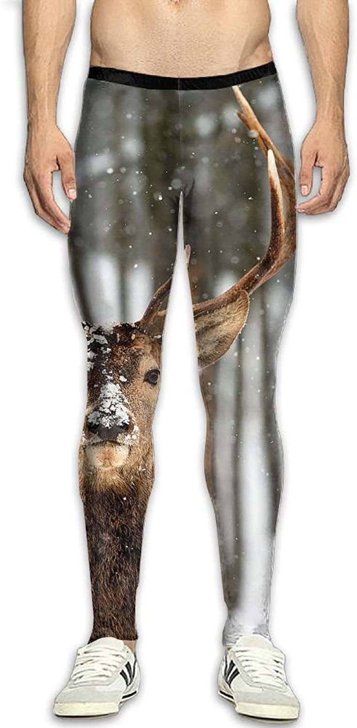 Deer Winter Snow Field Men's Fitness Compression Pants Sports Leggings Tights Baselayer Yoga Trousers