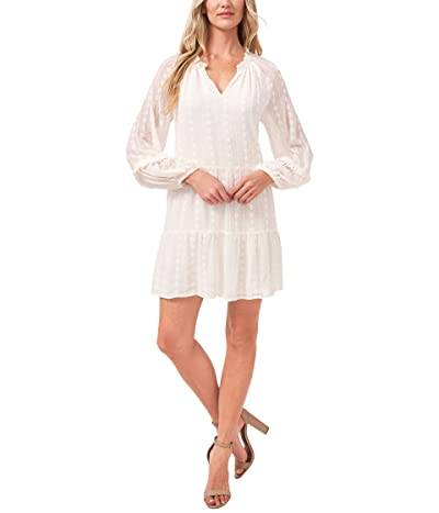 CeCe 3/4 Sleeve Ruffled Floral Embroidered Dress