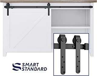 SMARTSTANDARD 5FT Mini Sliding Barn Door Hardware Track Kit -Super Smoothly and Quietly -Used for Cabinet, TV Stand, Closet, Window -Fit 30