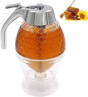 tropffreies Glas Ahornsirup-Spender wundersch/öner Honigkamm-geformter Honigtopf tolle Bienen-Dekoration Sdkmah9 Honigspender Honigglas mit St/änder 15,8 x 9 x 8,8 cm