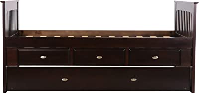 Discovery World Furniture Twin Rake Bed with 3 Drawers and Twin Trundle, Espresso