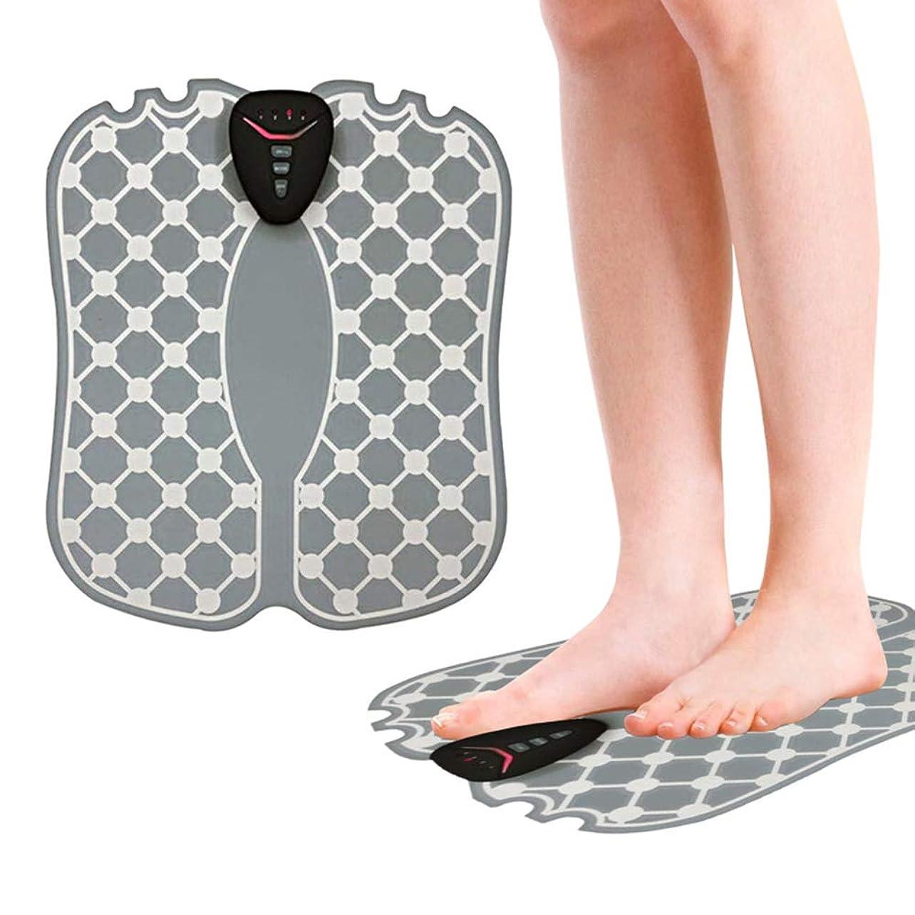 混乱させるドメイン腰携帯用電気フットマッサージャー - EMSフットマッサージクッション筋肉刺激装置折りたたみ式インテリジェント理学療法マッサージで血行を改善し疲労を軽減