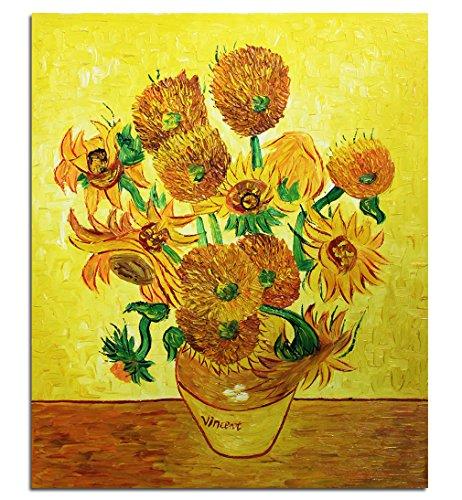 Fokenzary - Pintura al óleo pintada a mano sobre lienzo Vincent Van Gogh con diseño de girasoles clásicos, enmarcada, lista para colgar, lona, 24x32in