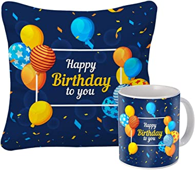 Sky Trends Ceramic Best Birthday Items Cup and Cushion Cover Combo Set (Multicolour), modern