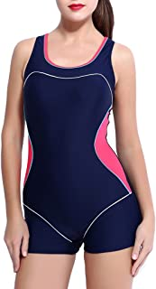 Eternatastic Women's One Piece Swimsuit Racerback Athletic Swimwear Boyleg Tankini