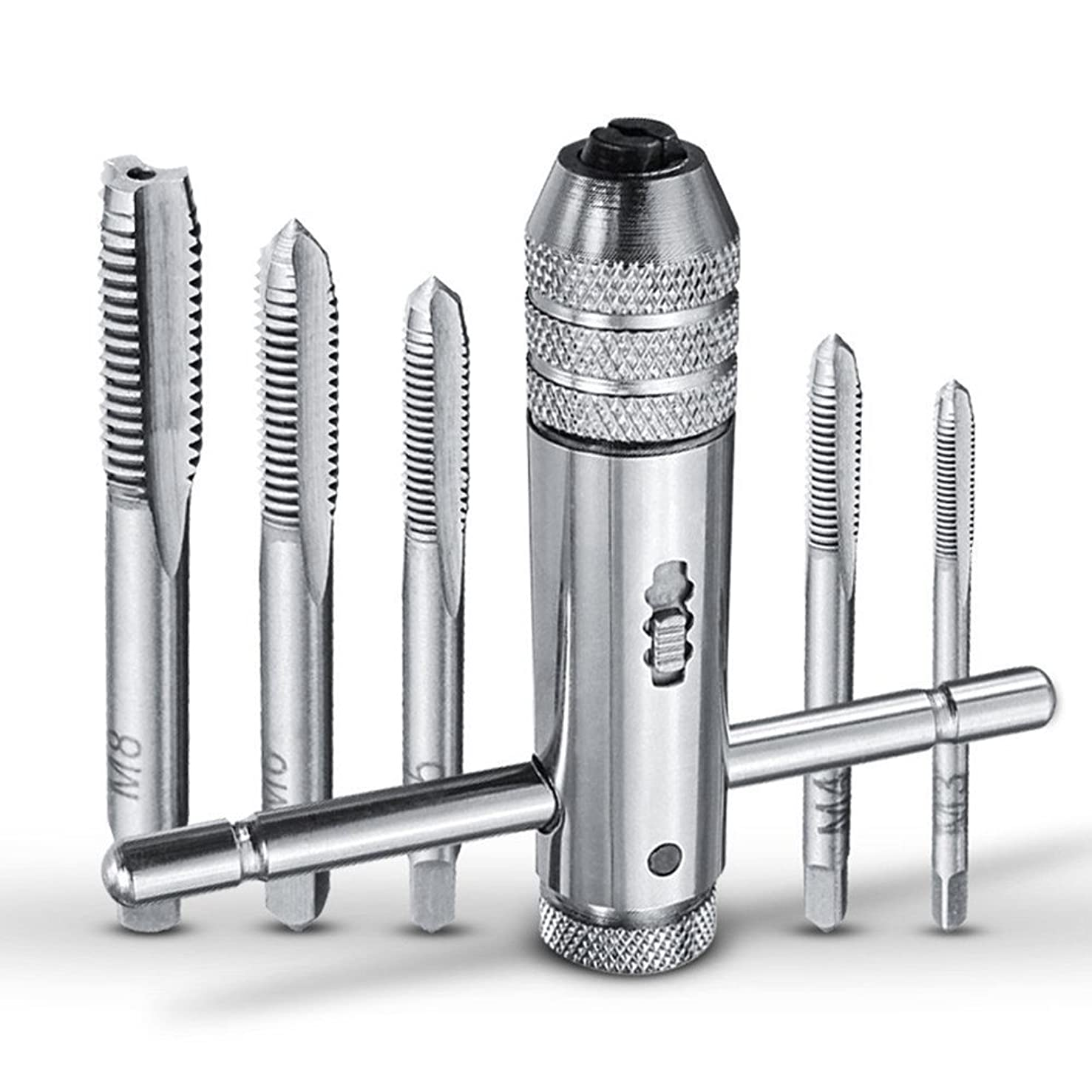 IBEUTES Adjustable T-Handle Ratchet Tap Holder Wrench Tapping Threading Tool Set with 5pcs M3-M8 3mm-8mm Machine Screw Thread Metric Plug T-shaped Tap