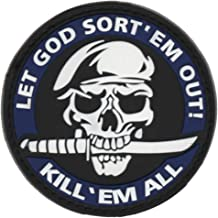 LET GOD SORT 'EM Out Kill 'EM All Martial Arts Military Patch Fabric PVC Badges Patch Tactical Stickers for Clothes with Hook & Loop (Blue)