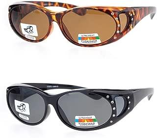 2 Pair Polarized Rhinestone Fit Over Wear Over Prescription Glasses Sunglasses
