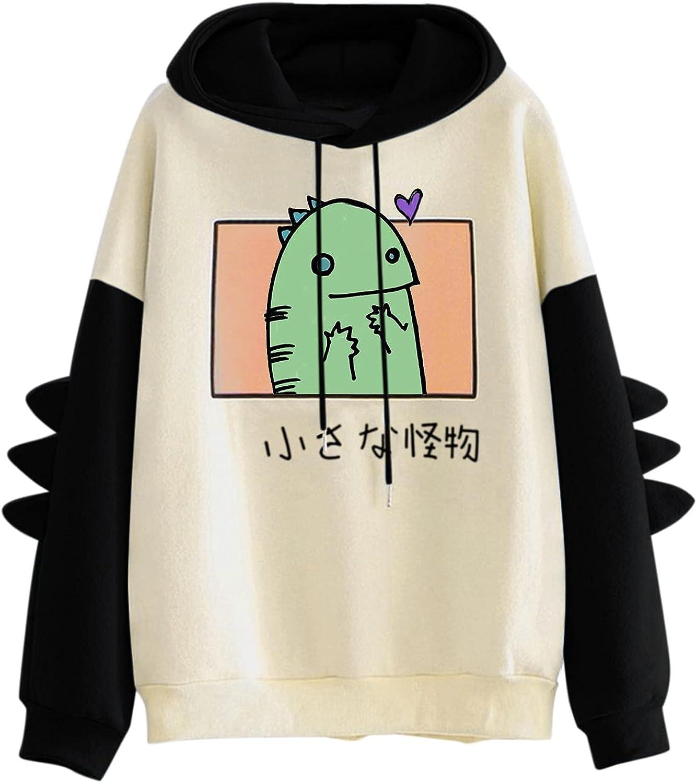 TAYBAGH Women's Cute Hoodie for Teen Girl Long Sleeve Kawaii Dinosaur Print Tops Casual Graphic Tee Animal Hoodies Shirt