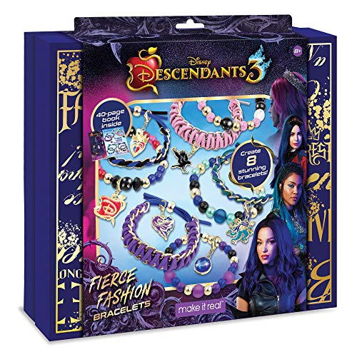 Make It Real - Disney Descendants 3 Fierce Fashion Jewelry - DIY Bead and Charm Bracelet Making Kit - Includes Jewelry Making Supplies, Beads, Charms & Descendants Book - Arts and Craft Kit for Kids