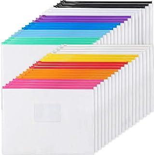 EOOUT 36pcs Poly Zip Envelope Plastic Zip Envelopes Files Zipper Folders, A4 Size/Letter Size, 11 Colors