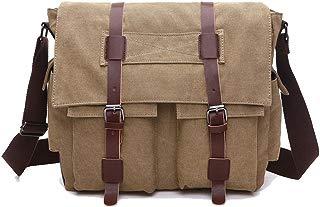 Men's Messenger Bag Laptop Satchel Vintage Shoulder Military Crossbody Sling Working Bag Bookbag Briefcase Fits 14 Inch Laptop for Men and Women (Khaki)