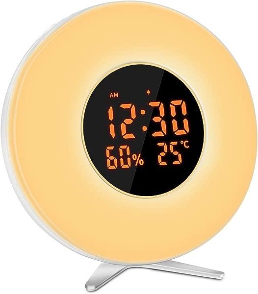 Mixhomic 唤醒灯闹钟 7 彩色打盹时钟日出模拟闹钟亮度可调和 5 自然声音为孩子成人