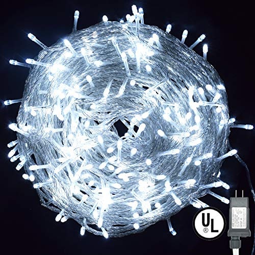 Vofler String Lights, Plug in 300 LED 100 ft/30M [UL Listed] [Weatherproof] [8 Modes] Decorative Lighting for Bedroom Patio Indoor Outdoor Home Halloween Christmas Xmas Tree Holiday Party-Cool White