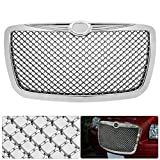 AJP Distributors Upgrade Replacement For 300 300C Badgeless Chrome Diamond Mesh Front Hood Bumper...