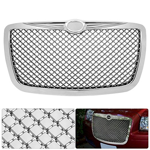 AJP Distributors Upgrade Replacement For 300 300C Badgeless Chrome Diamond Mesh Front Hood Bumper Grille Grill