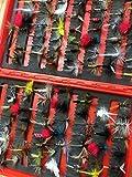 Angeln Fly Auswahl mehr als 100Fliegen für Forellen Freien Clip Shut Box Pack # 501, Dry Flies