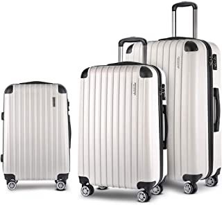 Wanderlite 3 Pcs Luggage Suitcase Set with Dual Wheels and Scale, White