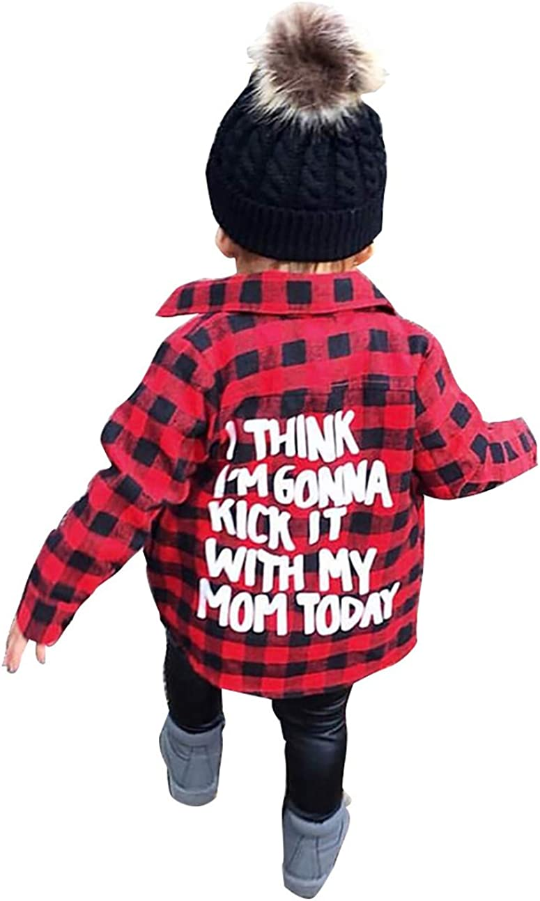 Red,2-7T Carolilly Unisex Kids Baby Boys Girls Long Sleeve Plaid Shirt Checked Shirt Tops Blouse Clothes Outfits
