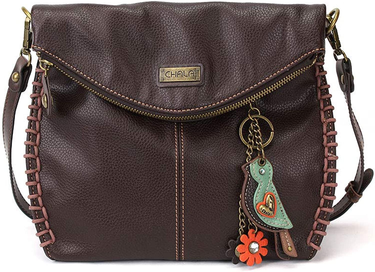 Chala Charming Crossbody Bag with Zipper Flap Top and Metal Chain  Dark Brown
