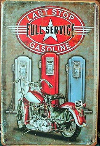 KB Style Vintage Last Stop Gasoline Affiche Murale rétro en métal 30 x 20 CM