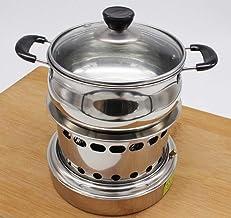 Estufa de acero inoxidable shabu shabu alcohol líquido compartida de autoservicio pequeño bote al aire libre al aire libre estufa portátil